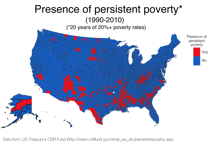 The presence of persistent poverty in the United States by county from 1990-2010