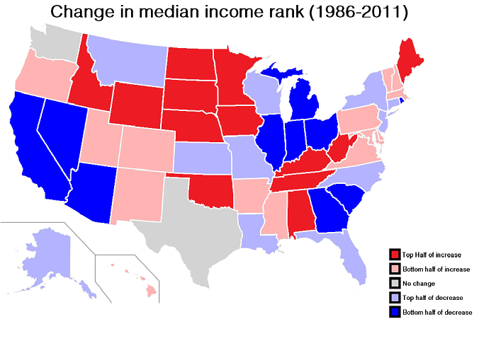 Change in median income rank from 1986 to 2011 for states in the United States